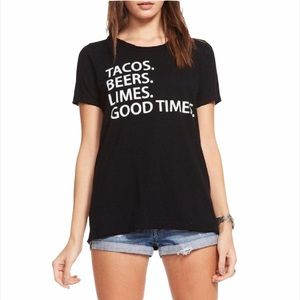"Chaser Black ""Tacos Beers Limes"" Crew Graphic Tee"